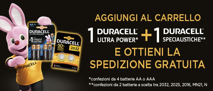 spese gratis con 1 DURACELL ULTRA POWER +1 DURACEL