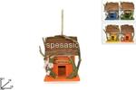 casetta legno c/fiori 18x16x21cm gi00823