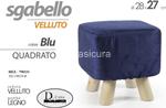 pouf velvet blu quadro 28x27cm 790331