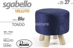 pouf velvet blu tondo 28x27cm 790324